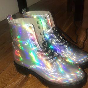 Iridescent combat boots